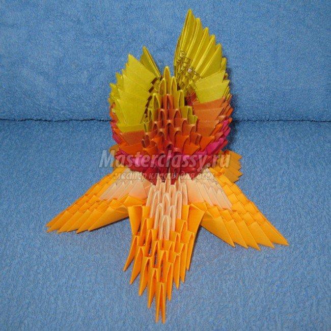 Как пошагово сделать оригами, из модулей Вечный огонь на 9 мая, 23 февраля?