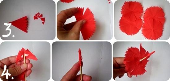Как делать гвоздику из бумаги своими руками