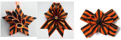 украшение-звезду на день Победы своими руками из георгиевской ленточки