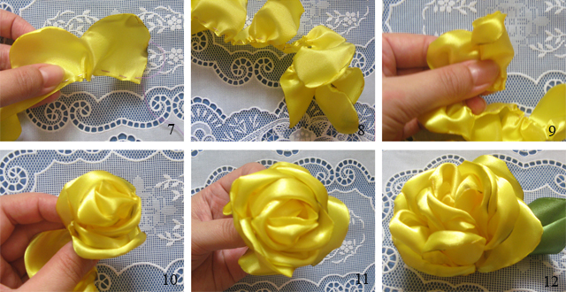 Большая роза из лент своими руками пошаговая инструкция