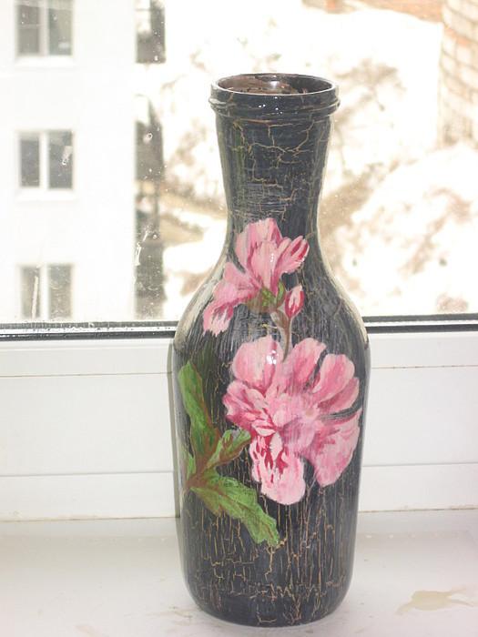 Декупаж из бутылки сделать вазу своими руками 47