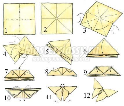 Как оригами сделать бабочку