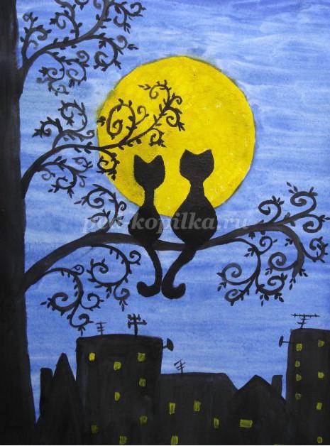 как нарисовать влюбленных кошек поэтапно мастер-класс детям
