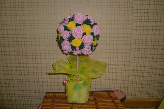 Декоративные цветы из салфеток
