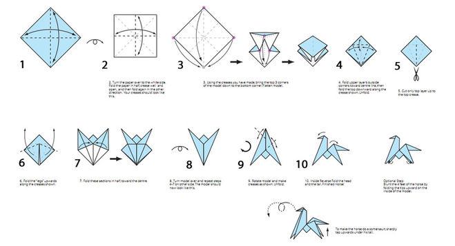 Оригами лошадь схема видео фото 336