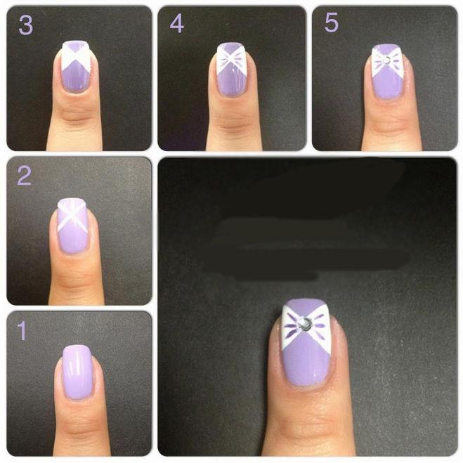 Как сделать бантики на ногтях 934