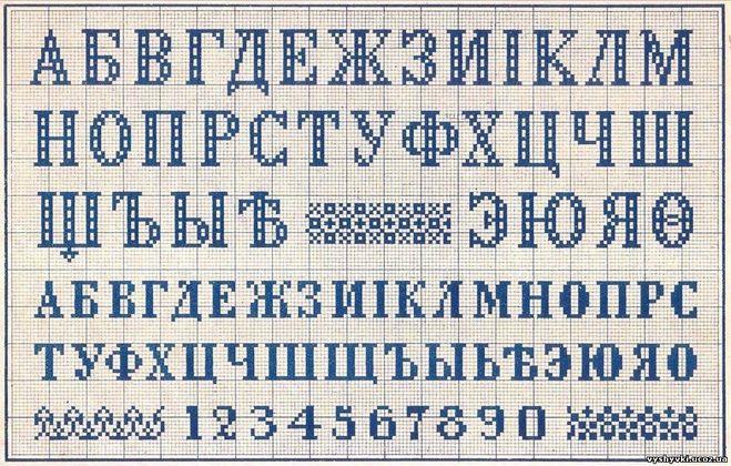 Трафареты букв для вышивки