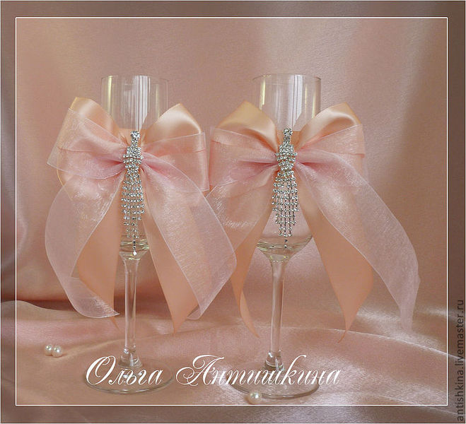 Банты Нежно Персикового Цвета Для Свадебного Платья