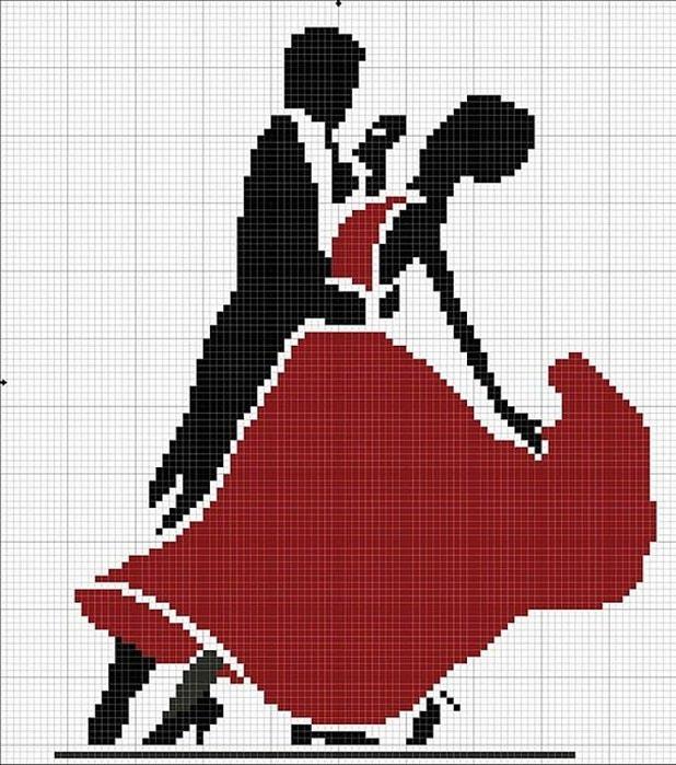 Вышивка крестом танец монохром