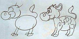 корова рисунок поэтапно