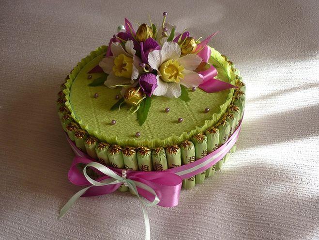 Торт из конфет на день рождения пошагово