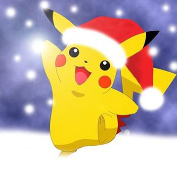 рисунок новогодний Пикачу