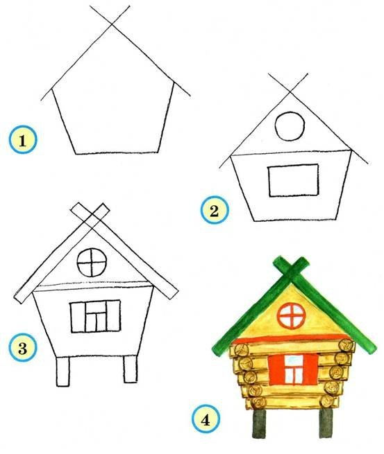 Нарисовать домики поэтапно