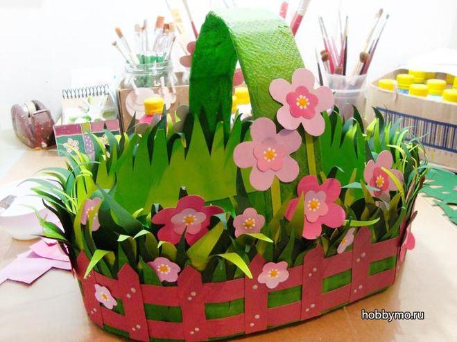 Цветочные корзины из бумаги своими руками