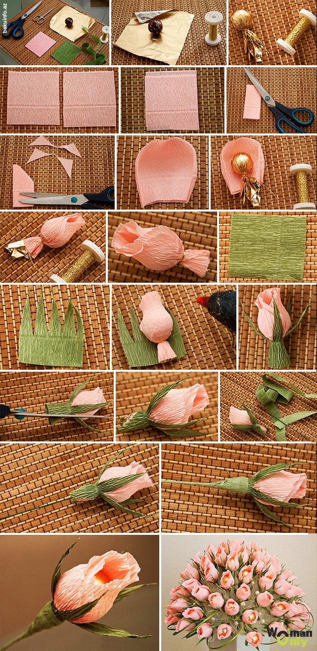 Розы из конфет своими руками пошаговое для начинающих