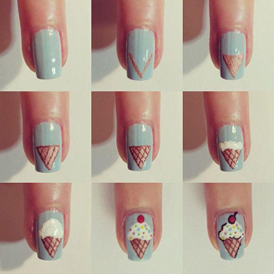 Рисунок мороженое на ногтях
