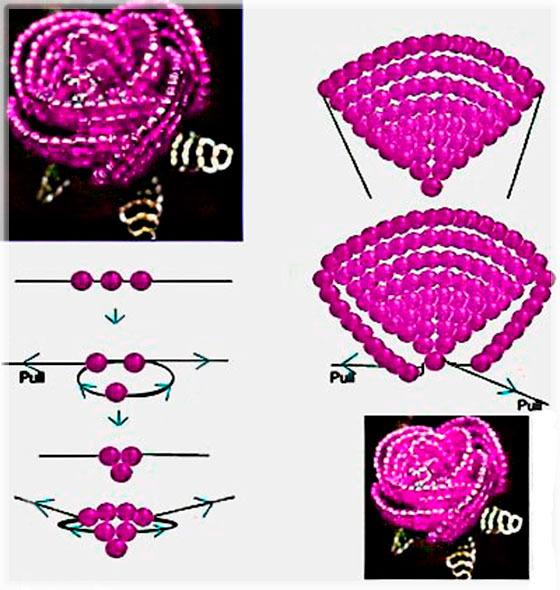 По плетению розы из бисера