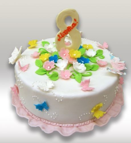 украшение торта на 8 марта