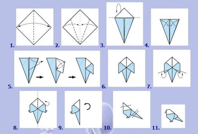 Как сделать оригами птицу схема
