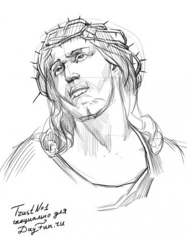 поэтапное рисование Иисус Христос