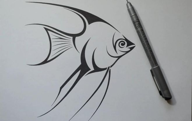Рисуем поэтапно черной гелевой ручкой