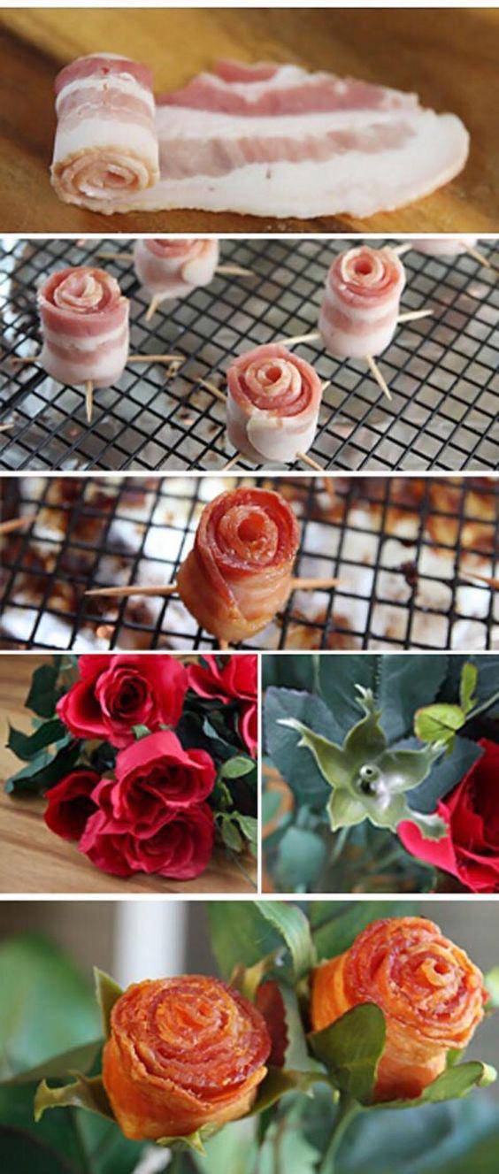 роза из бекона