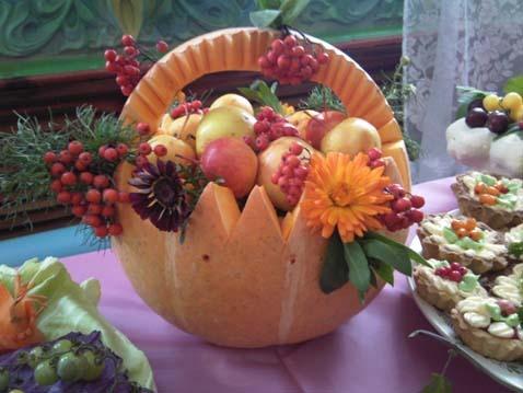 Осенняя поделка корзина из тыквы
