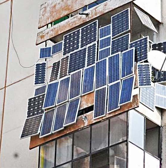 Солнечная батарея на балконе.