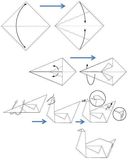 Как из бумаги сделать лебедя оригами из бумаги