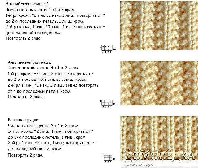 Ложная английская резинка спицами схема вязания