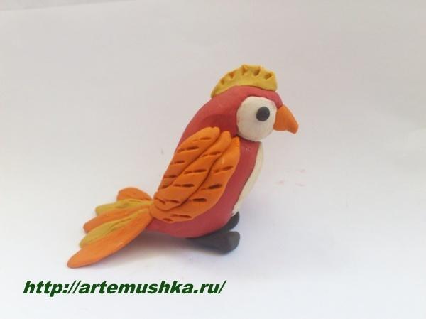 Птица из пластилина фото