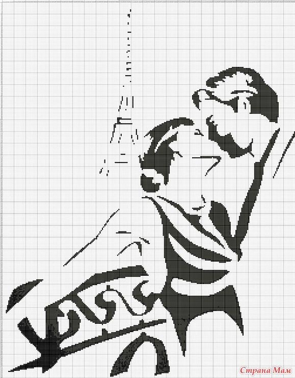 Влюбленная пара монохромная вышивка крестом схемы