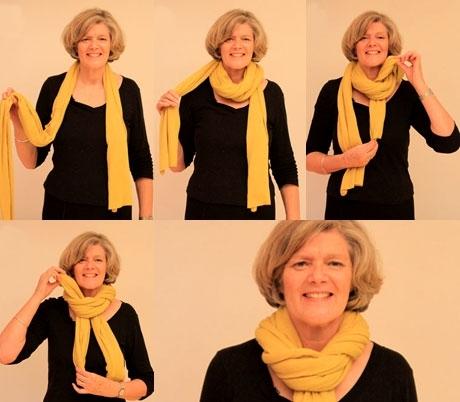 как красиво завязать теплый шарф видео