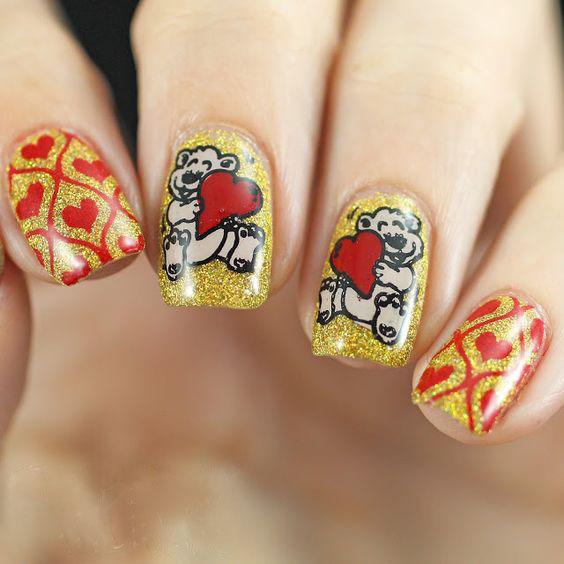 мишка Тедди рисунок на ногтях