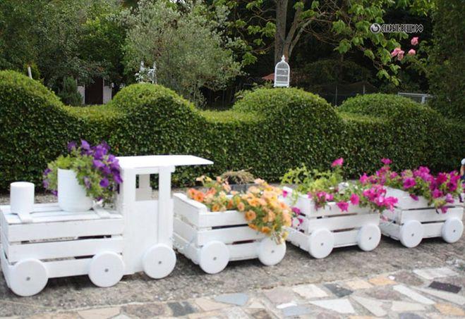 Садовые поделки своими руками паровозик