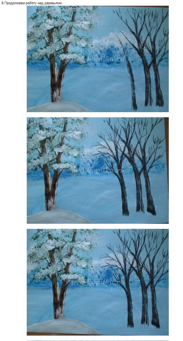 Рисуем пейзажи зимние поэтапно 100