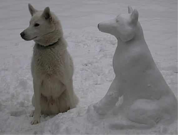 слепить, сделать собаку из снега