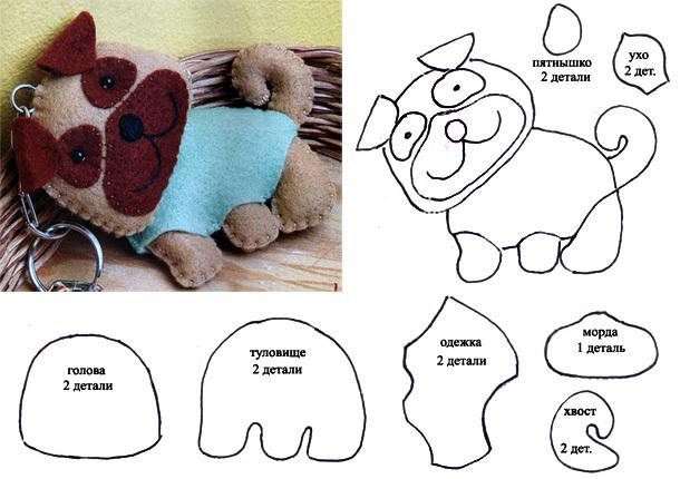 Как сшить собачку из фетра, выкройка собачки из фетра, сувенир поделка собачка из фетра своими руками.