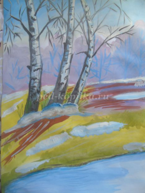 Как рисовать зимней пейзаж поэтапно
