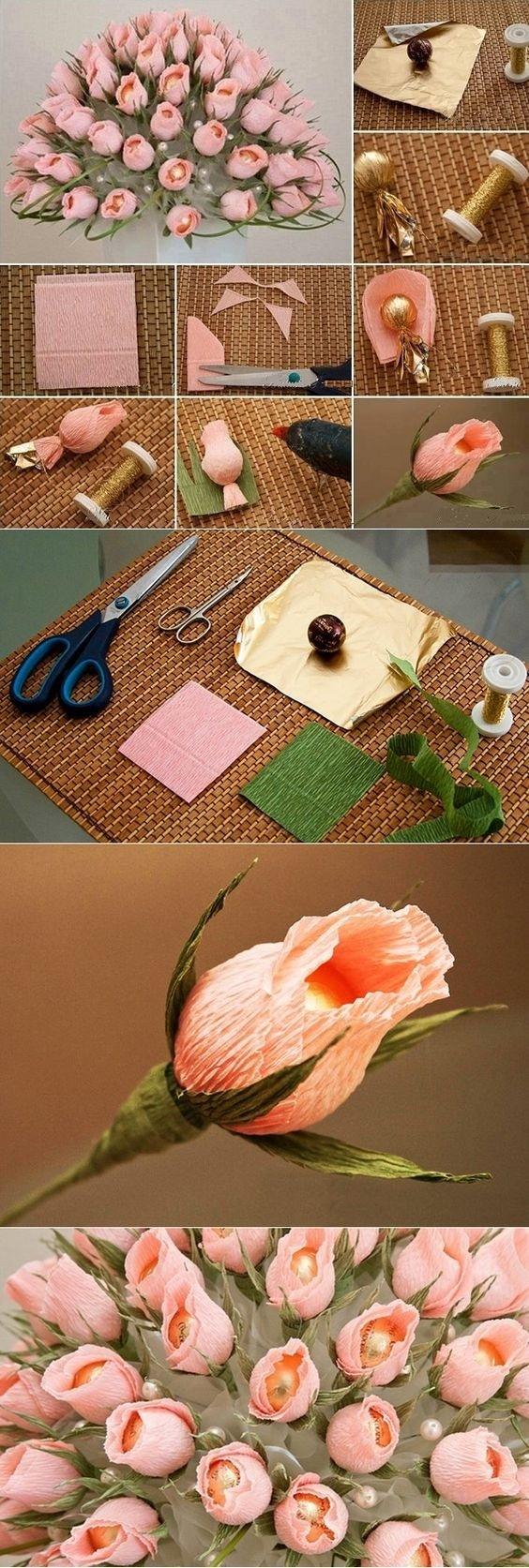 Мастер класс изготовления цветов из бумаги с конфетами своими руками
