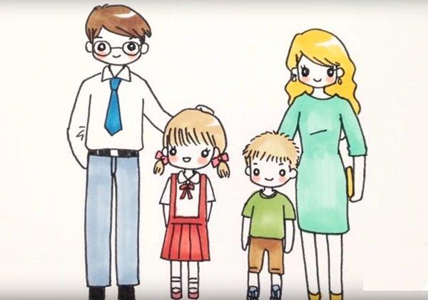 рисунок Моя семья как сделать поэтапно, <strong>идеи для рисунков на тему Моя семья</strong>, детские рисунки Моя семья