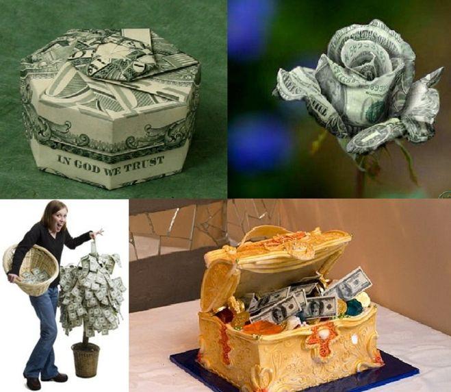 Оригинальное подарки из денег на свадьбу