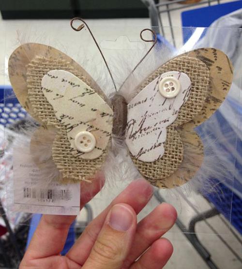 Бабочка из мешковины