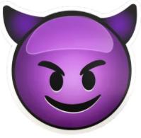 фиолетовый чертенок с улыбкой смайлик значит