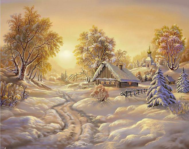 Нарисовать карандашом зимнее утро