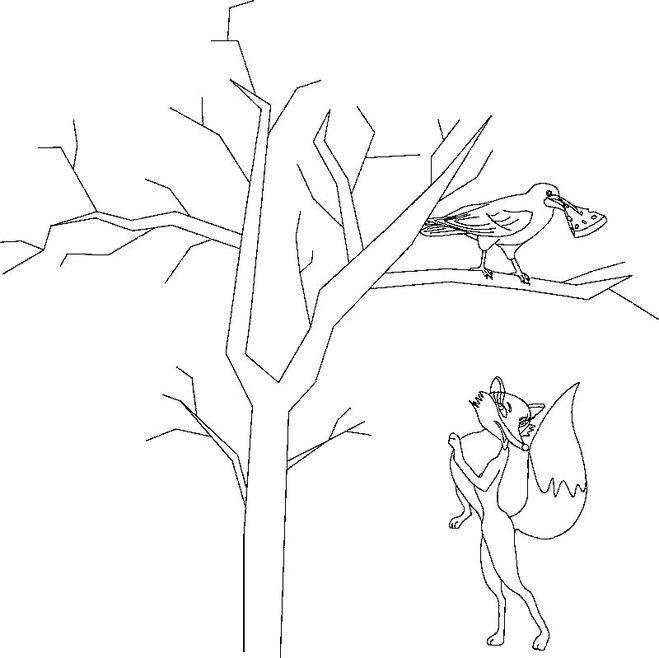 459Раскраска к басни крылова ворона и лисица