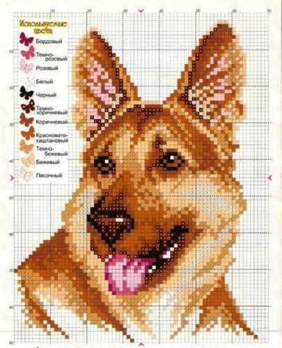 Скачать схемы для вышивки крестом собаки