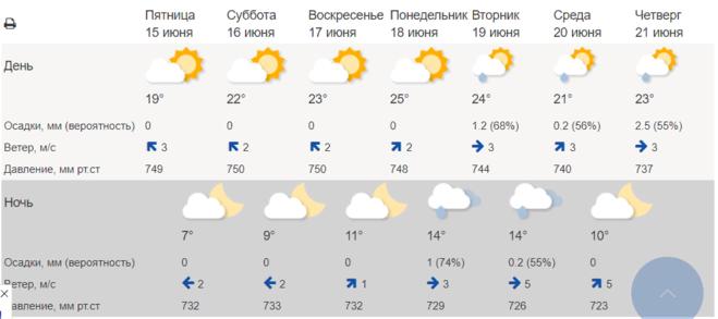 Погода в Московской области 15 - 21 июня (Гидрометцентр)