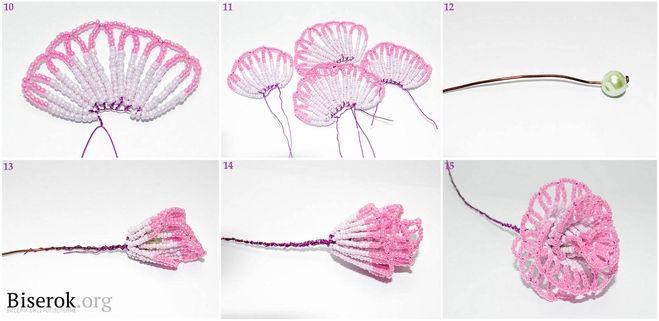 схема ажурных цветов крючком