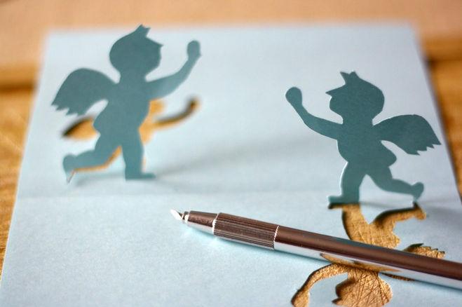 как сделать открытку с ангелом своими руками, как сделать новогоднюю открытку, как сделать рождественскую открытку